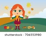 autumn kids cartoon. autumnal... | Shutterstock . vector #706553980