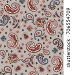 seamless trendy paisley pattern ... | Shutterstock .eps vector #706554709