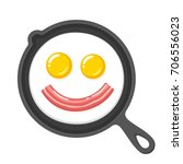 funny smiling fried eggs and... | Shutterstock .eps vector #706556023