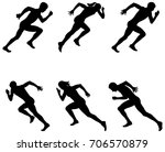set athletics sprinters runners ... | Shutterstock .eps vector #706570879