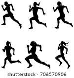 set sprint woman runners... | Shutterstock .eps vector #706570906