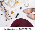 feminine autumn accessories ...   Shutterstock . vector #706572268