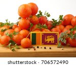 sri lankan flag on a wooden... | Shutterstock . vector #706572490