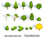 trees flat icons with shadows.... | Shutterstock .eps vector #706586530