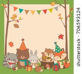 cute woodland animals cartoon... | Shutterstock .eps vector #706593124