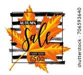 autumn sale. fall season sale... | Shutterstock .eps vector #706593640