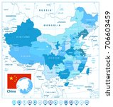 china map and map pointers in... | Shutterstock .eps vector #706603459