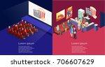 isometric flat 3d concept... | Shutterstock .eps vector #706607629