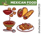 mexican food vector collection...   Shutterstock .eps vector #706610923