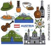 austria tourism travel... | Shutterstock .eps vector #706611334