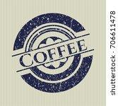 blue coffee distress rubber... | Shutterstock .eps vector #706611478