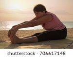 mature woman doing gymnastic...   Shutterstock . vector #706617148