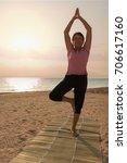 mature woman doing gymnastic...   Shutterstock . vector #706617160