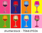 wine glass hand drawing vector... | Shutterstock .eps vector #706619326
