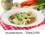 a pasta squares soup with fresh ...