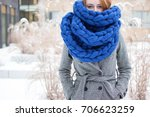winter is coming  redhead girl... | Shutterstock . vector #706623259
