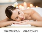 beautiful woman with closed... | Shutterstock . vector #706624234