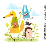 animals friends playing in... | Shutterstock .eps vector #706624603