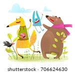 kids baby animals happy... | Shutterstock .eps vector #706624630