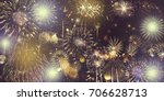 abstract colored firework... | Shutterstock . vector #706628713