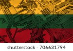 flag of lithuania  pictured on... | Shutterstock . vector #706631794