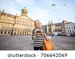 young woman tourist standing... | Shutterstock . vector #706642069
