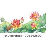 banner  border of pink egyptian ... | Shutterstock . vector #706643500