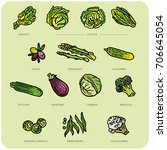 various vegetables   classics | Shutterstock .eps vector #706645054