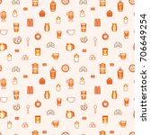 vector coffee seamless pattern | Shutterstock .eps vector #706649254