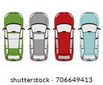 the plan view of the modern car.... | Shutterstock .eps vector #706649413