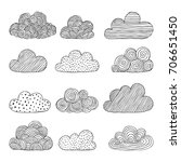 beautiful set of doodle clouds. ... | Shutterstock .eps vector #706651450