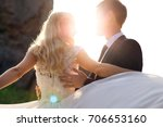 sunset close up of a happy... | Shutterstock . vector #706653160
