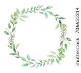 watercolor woodland wreath leaf ... | Shutterstock . vector #706655314