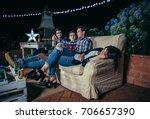 young men talking and having... | Shutterstock . vector #706657390