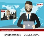 news anchor broadcasting the... | Shutterstock .eps vector #706666093