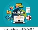 flat illustration web analytics ... | Shutterstock .eps vector #706666426
