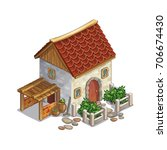 vector isometric stone house... | Shutterstock .eps vector #706674430