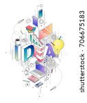 isometric concept with thin... | Shutterstock .eps vector #706675183