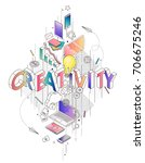 isometric concept with thin... | Shutterstock .eps vector #706675246