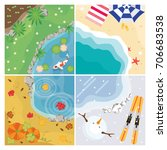 four seasons vector with pond ... | Shutterstock .eps vector #706683538