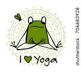 funny yoga frog  sketch for... | Shutterstock .eps vector #706683928