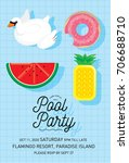 floats summer pool party... | Shutterstock .eps vector #706688710