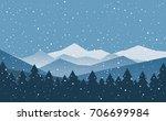 winter snowy mountains landscape | Shutterstock .eps vector #706699984