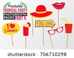 set of printable tropical party ... | Shutterstock .eps vector #706710298
