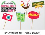 set of printable tropical party ... | Shutterstock .eps vector #706710304