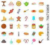 candy icons set. cartoon style... | Shutterstock .eps vector #706710808