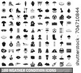 100 weather condition icons set ...