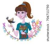 girl artist | Shutterstock .eps vector #706711750