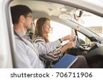young woman on a driving test... | Shutterstock . vector #706711906