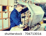 young satisfied male worker... | Shutterstock . vector #706713016